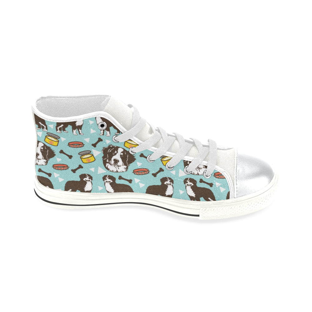 Bernese Mountain Pattern White High Top Canvas Shoes for Kid - TeeAmazing