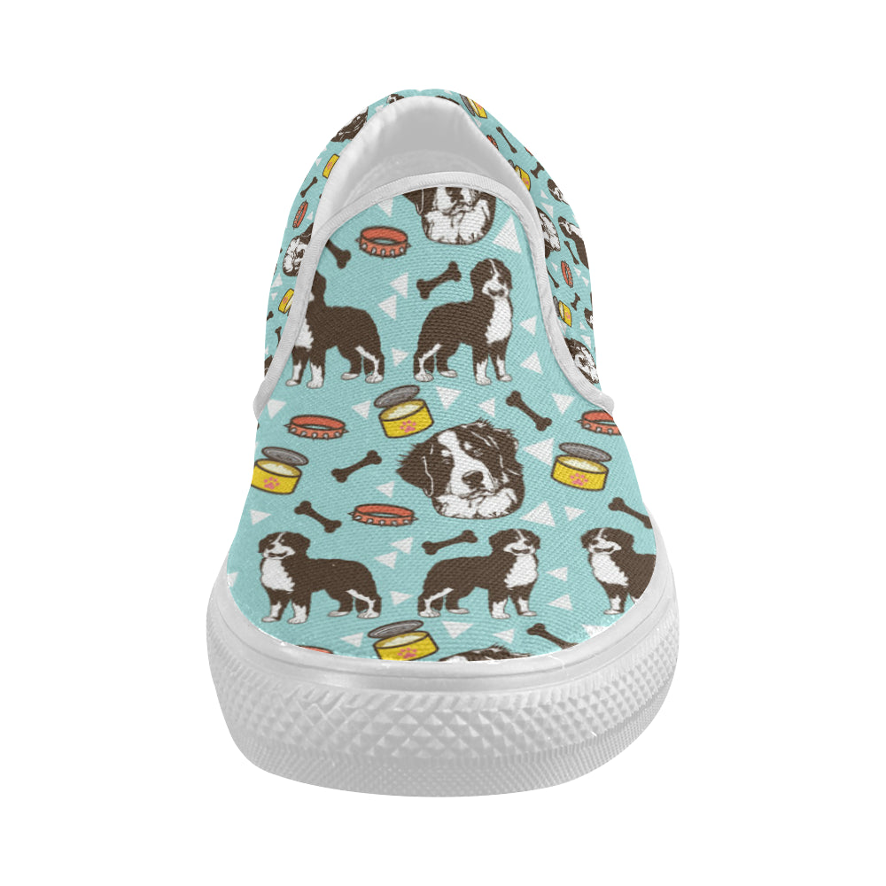 Bernese Mountain Pattern White Women's Slip-on Canvas Shoes - TeeAmazing