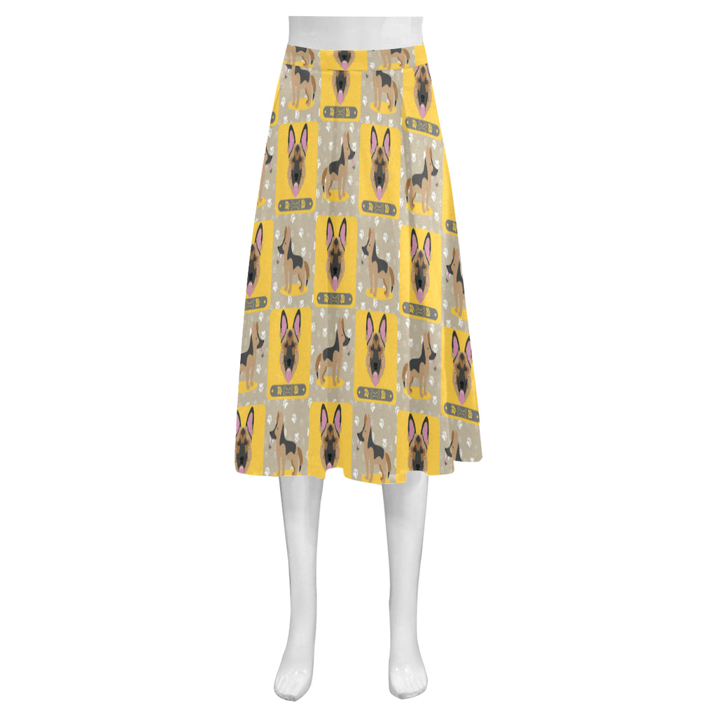 German Shepherd Pattern Mnemosyne Women's Crepe Skirt - TeeAmazing