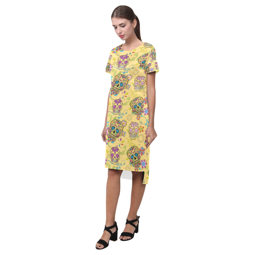 Sugar Skull Short Sleeves Casual Dress - TeeAmazing