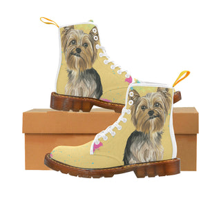 Yorkshire Terrier Water Colour No.1 White Martin Boots For Women - TeeAmazing