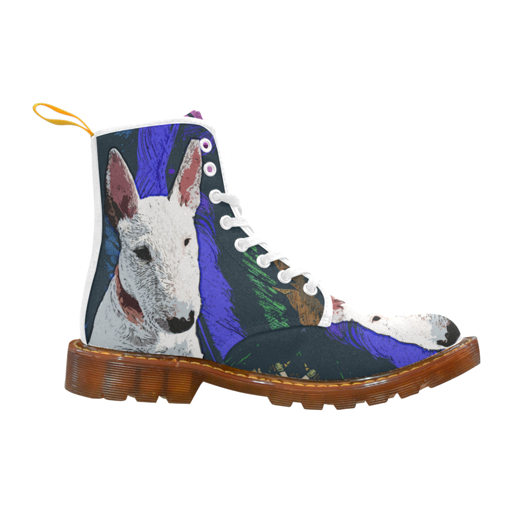 Bull Terrier Painting White Boots For Men - TeeAmazing