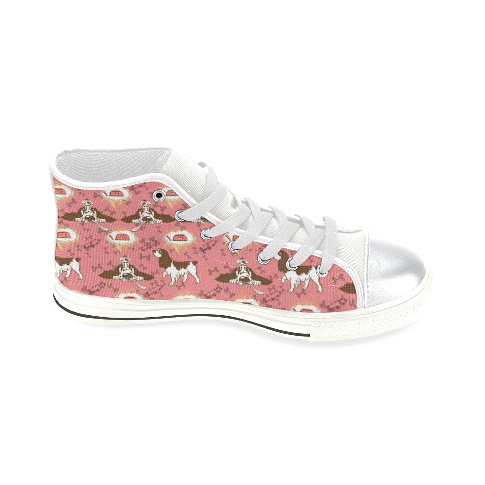 English Cocker Spaniel Pattern White High Top Canvas Women's Shoes/Large Size - TeeAmazing