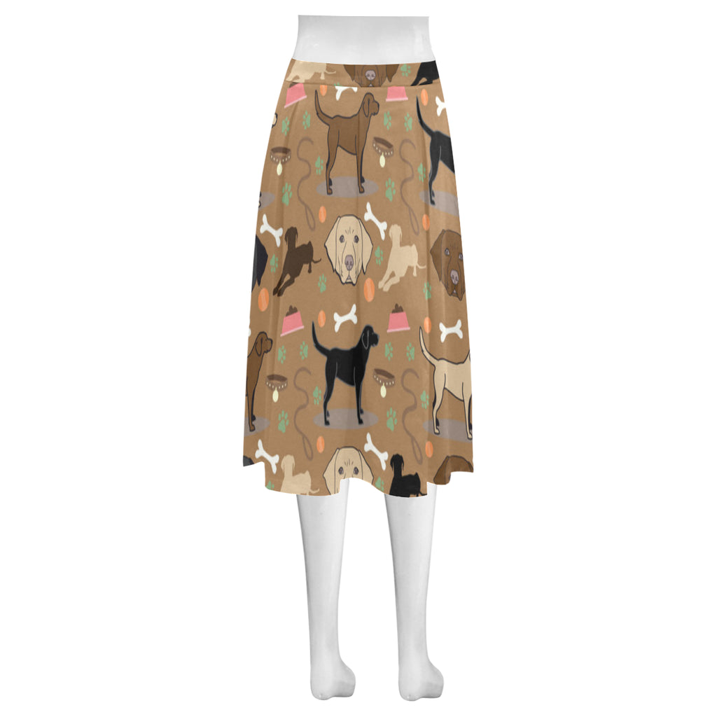 Labrador 3 Colors Mnemosyne Women's Crepe Skirt (Model D16) - TeeAmazing