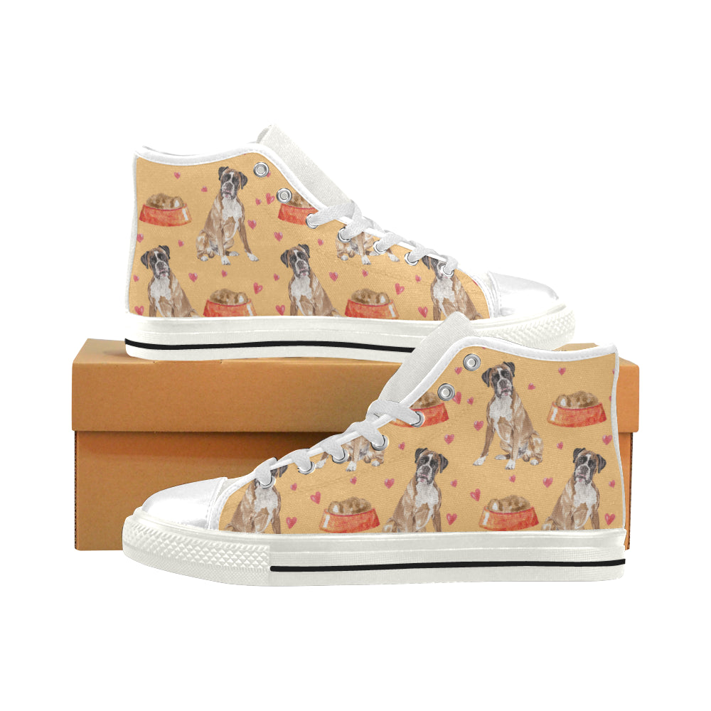Boxer Water Colour Pattern No.1 White Men's Classic High Top Canvas Shoes - TeeAmazing