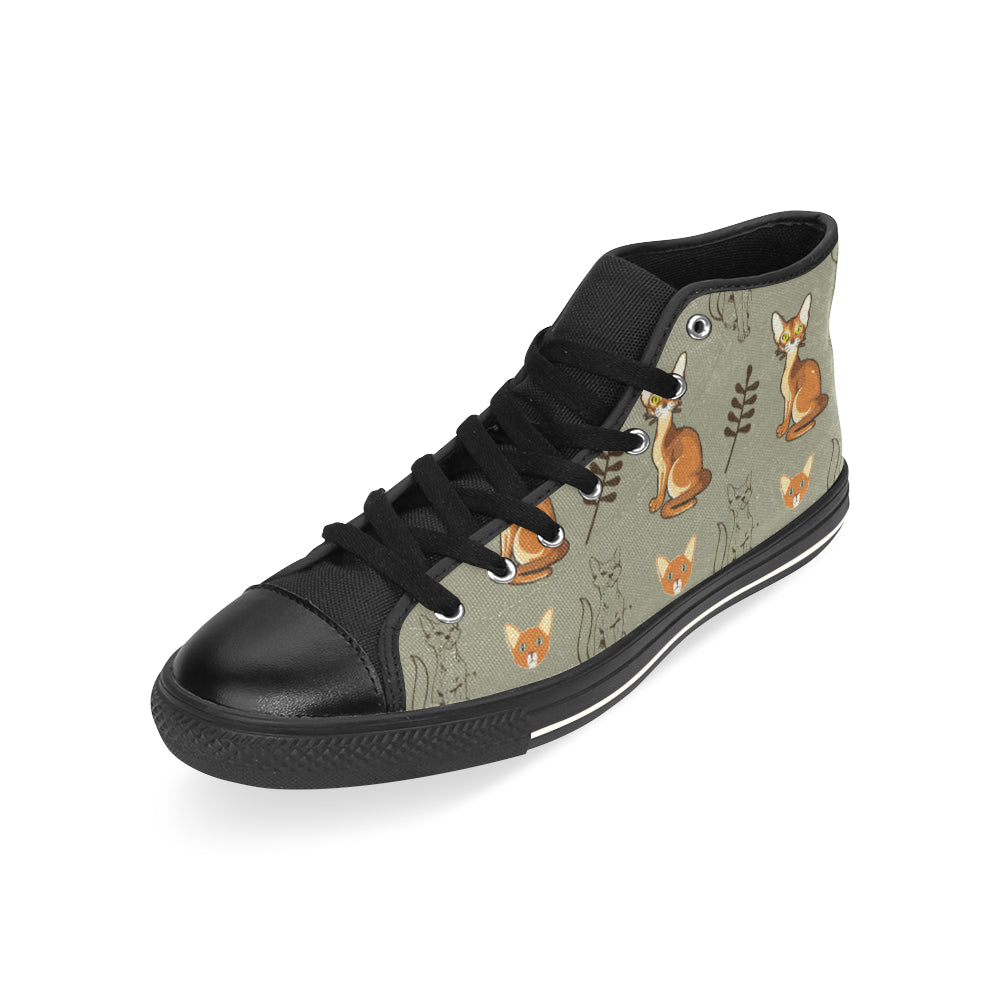 Abyssinian Black High Top Canvas Shoes for Kid - TeeAmazing