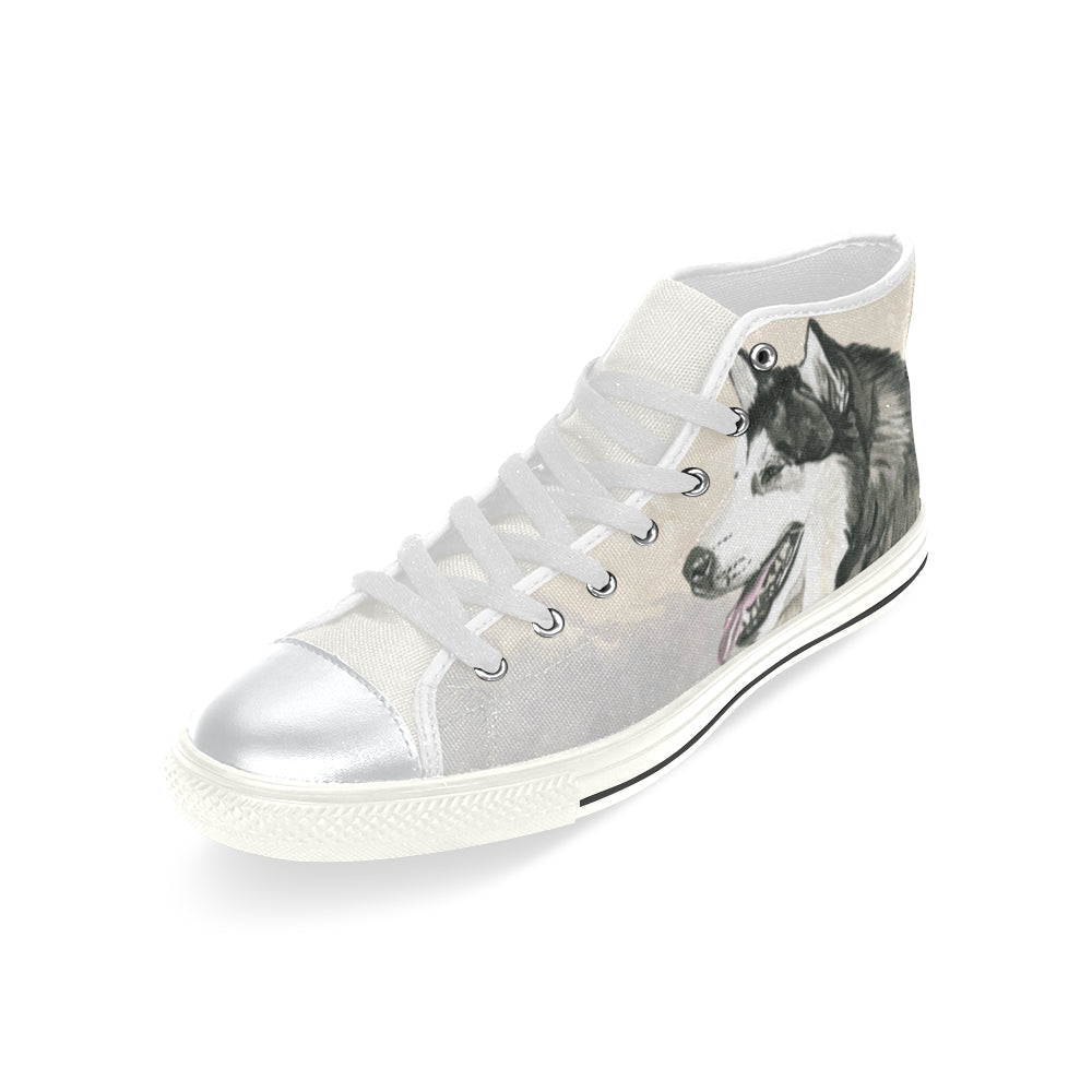 Alaskan Malamute Water Colour White High Top Canvas Women's Shoes/Large Size - TeeAmazing