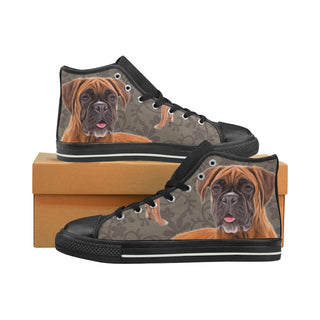 Boxer Lover Black High Top Canvas Shoes for Kid