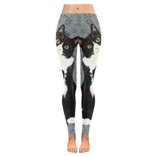 Tuxedo Cat Low Rise Leggings (Invisible Stitch) (Model L05) - TeeAmazing