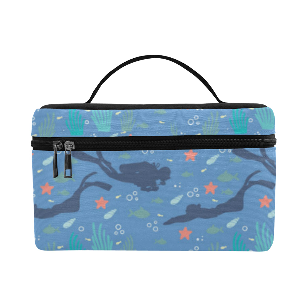 Scuba Diving Pattern Cosmetic Bag/Large - TeeAmazing