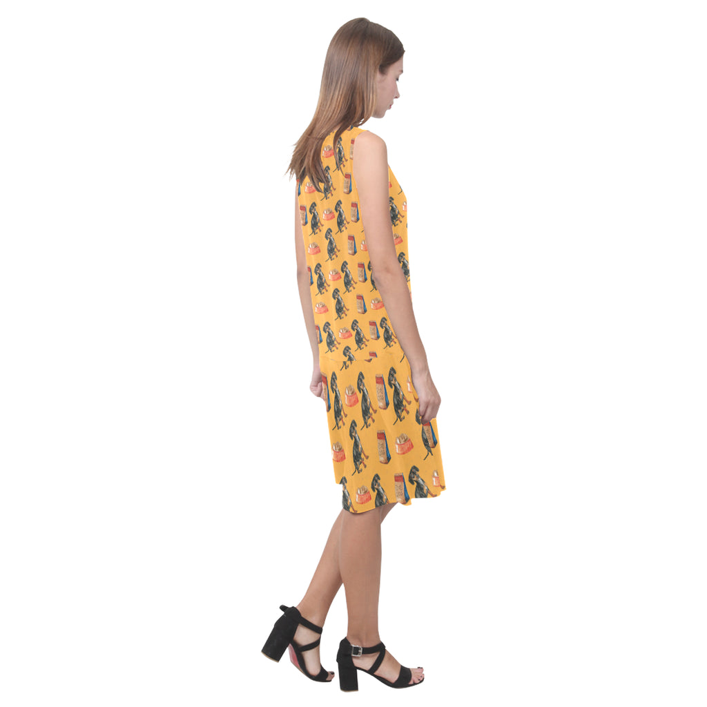 Dachshund Water Colour Pattern No.1 Sleeveless Splicing Shift Dress - TeeAmazing