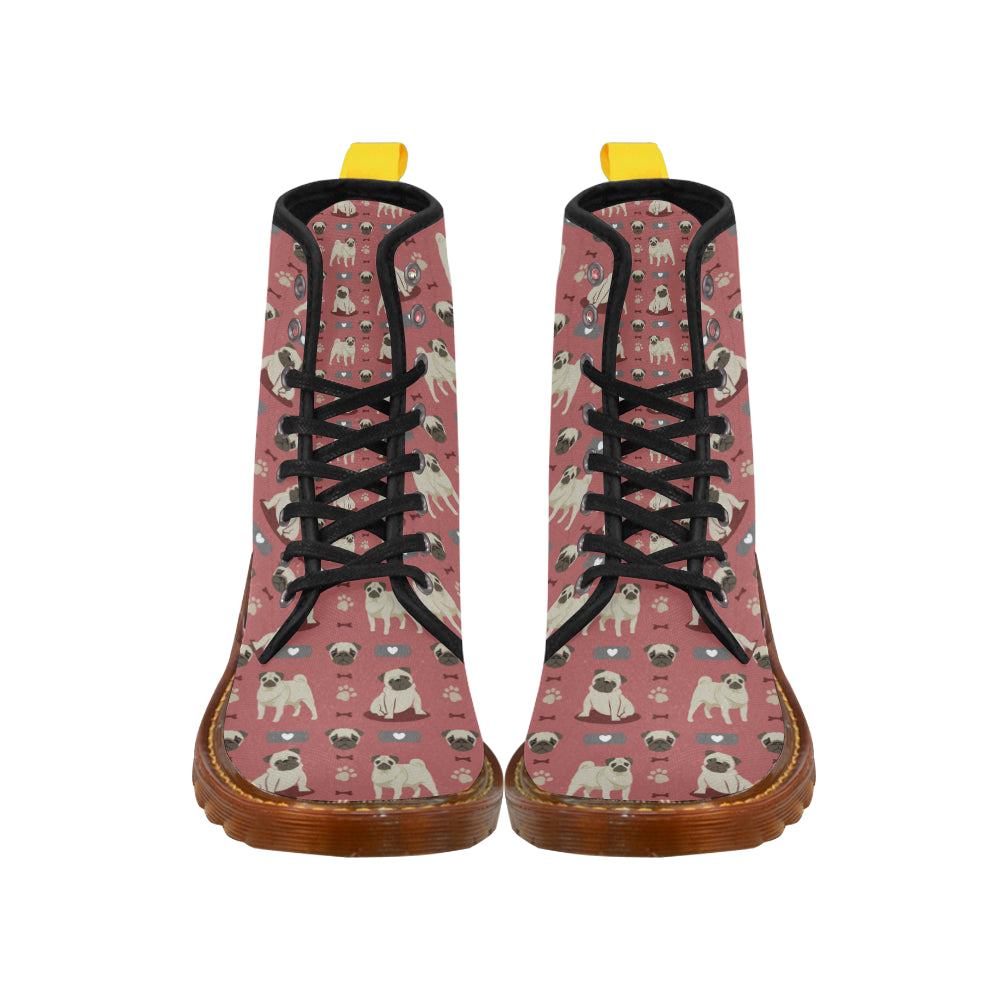 Pug Pattern Black Boots For Women - TeeAmazing