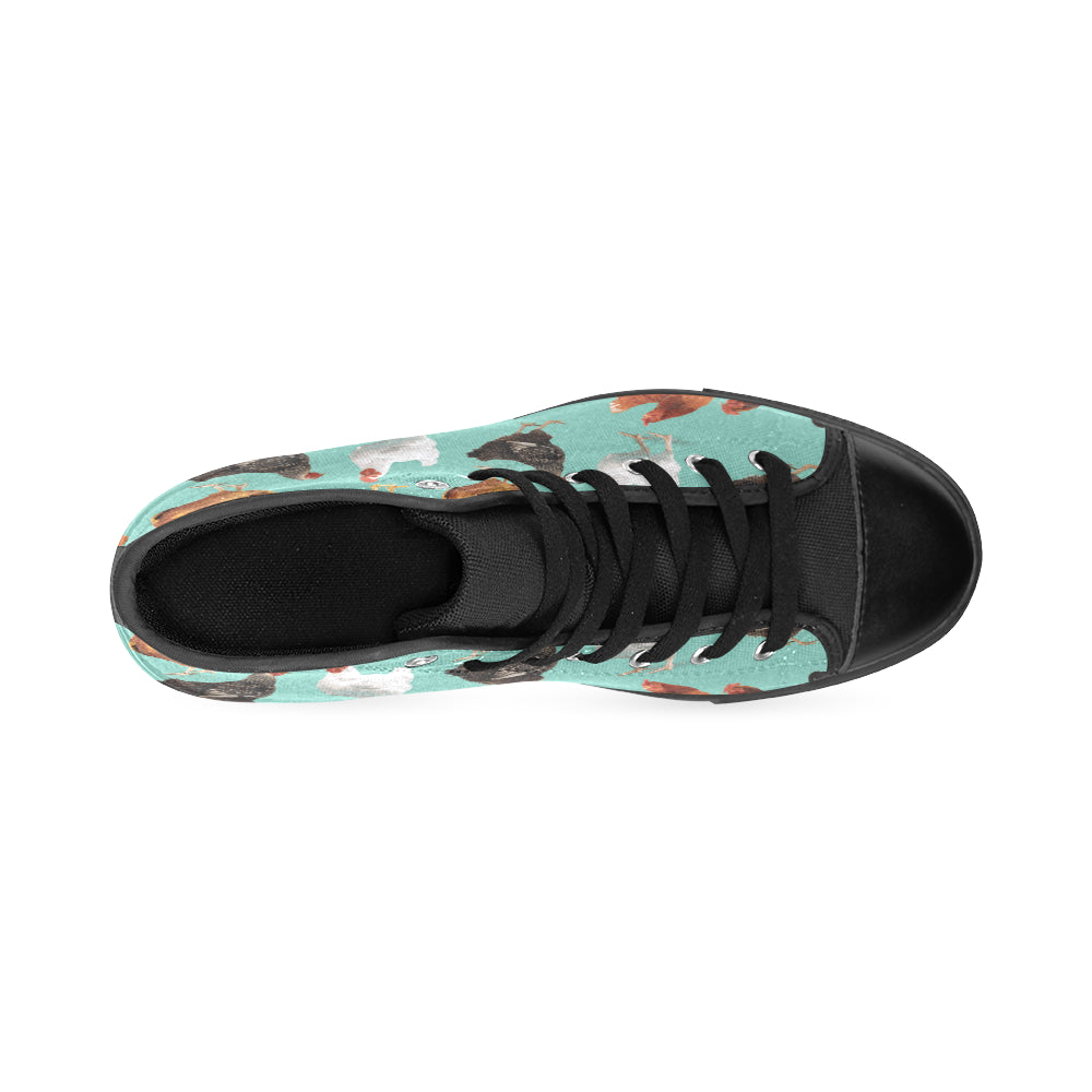 Chicken Pattern Black High Top Canvas Women's Shoes/Large Size - TeeAmazing