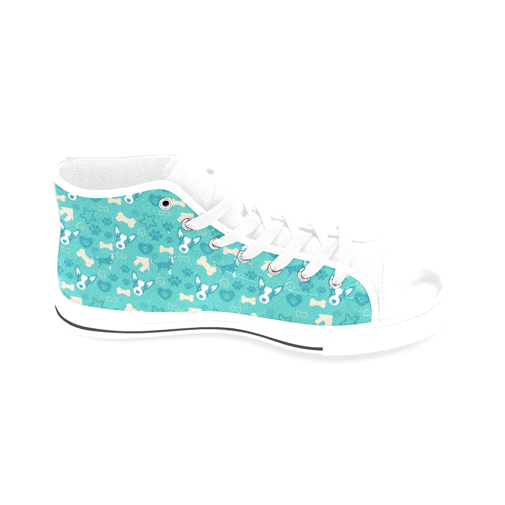 Australian Cattle Dog Pattern White Men's Classic High Top Canvas Shoes /Large Size - TeeAmazing