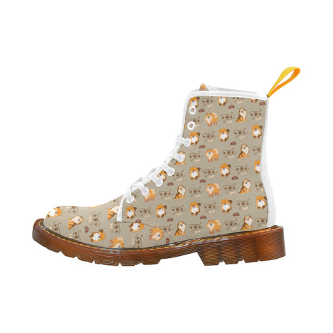 Pomeranian Pattern White Martin Boots For Women Model 1203H - TeeAmazing