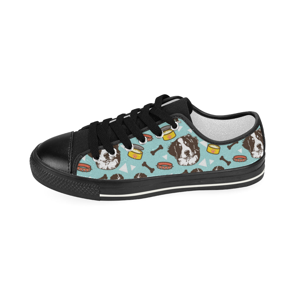 Bernese Mountain Pattern Black Women's Classic Canvas Shoes - TeeAmazing