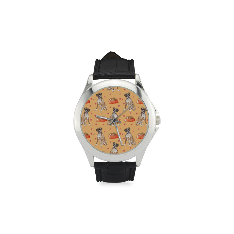 Boxer Water Colour Pattern No.1 Women's Classic Leather Strap Watch - TeeAmazing