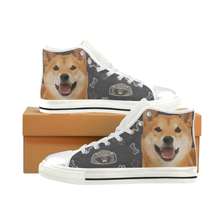 Shiba Inu Dog White High Top Canvas Women's Shoes/Large Size - TeeAmazing