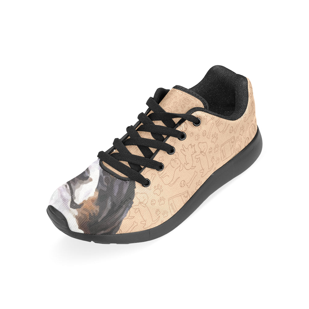 Bernese Mountain Black Sneakers for Women - TeeAmazing