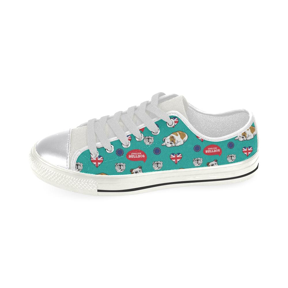 English Bulldog White Canvas Women's Shoes (Large Size) - TeeAmazing