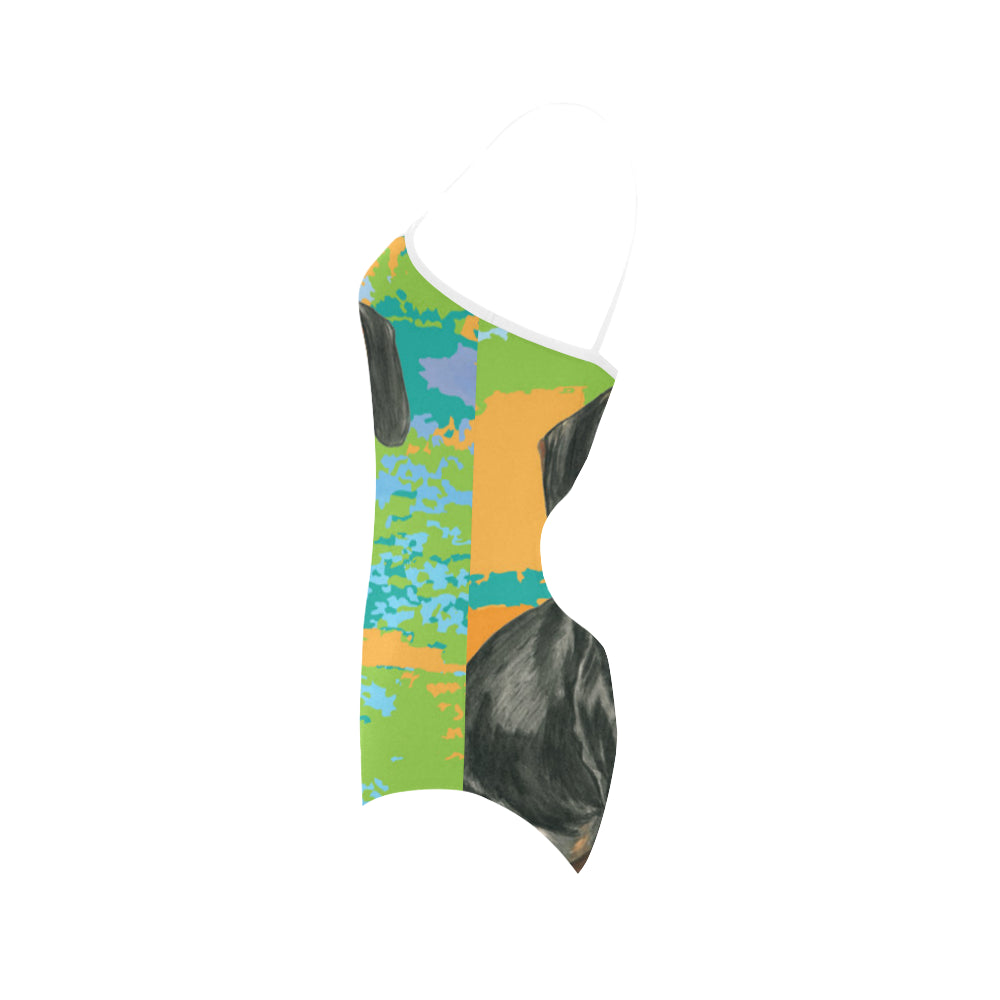 Dachshund Water Colour No.2 Strap Swimsuit - TeeAmazing