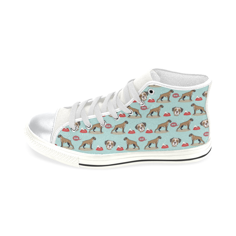 Boxer Pattern White High Top Canvas Women's Shoes (Large Size) - TeeAmazing