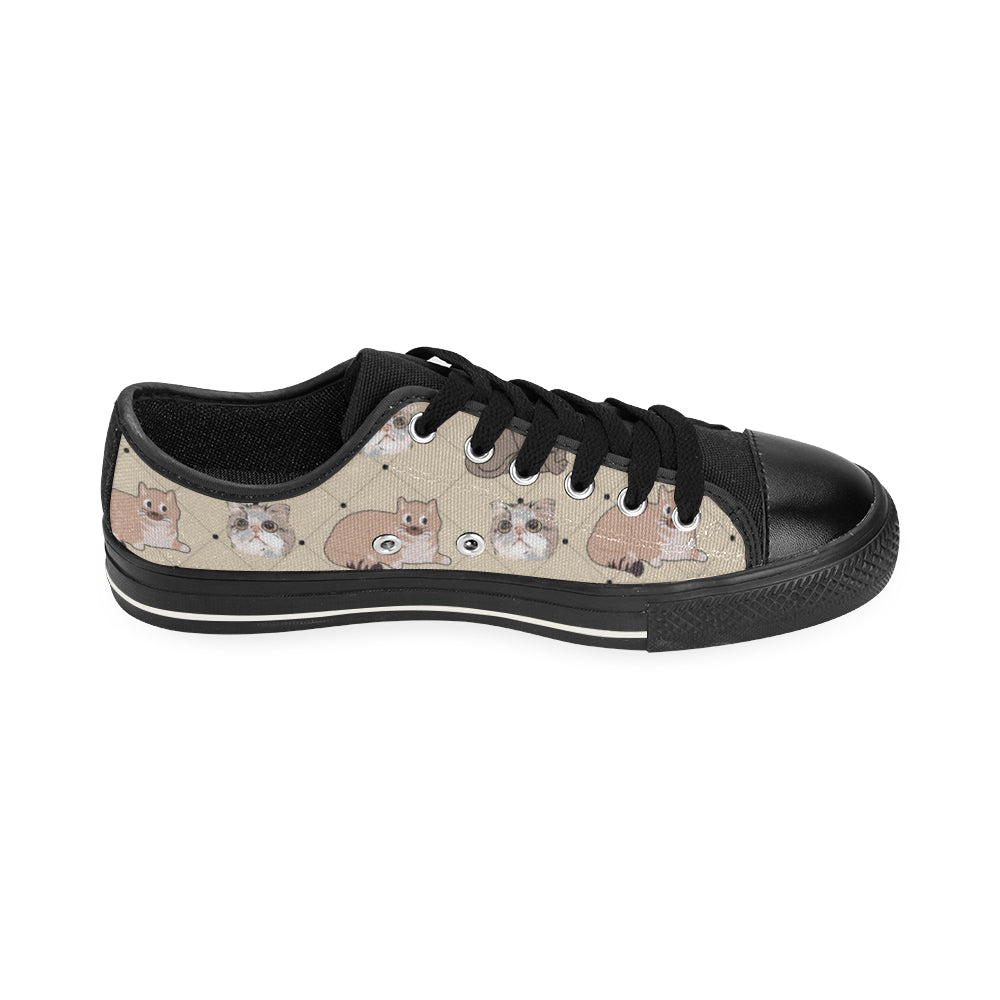Exotic Shorthair Black Canvas Women's Shoes/Large Size (Model 018) - TeeAmazing