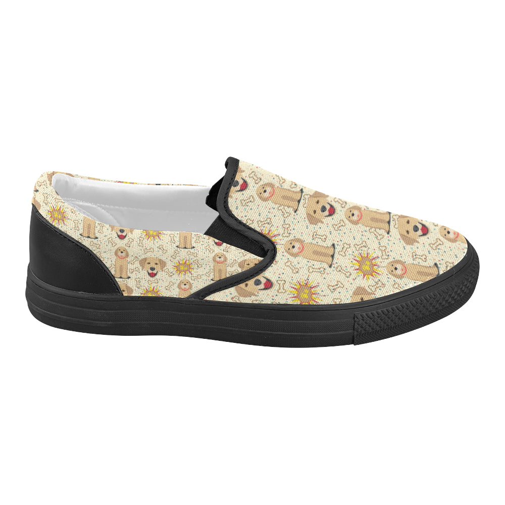 Golden Retriever Pattern Black Women's Slip-on Canvas Shoes - TeeAmazing
