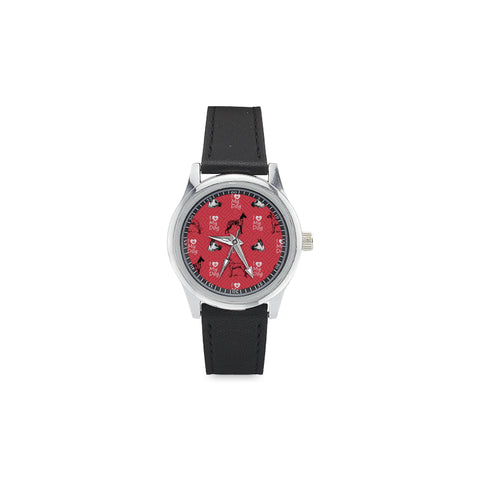 Great Dane Pattern Kid's Stainless Steel Leather Strap Watch - TeeAmazing