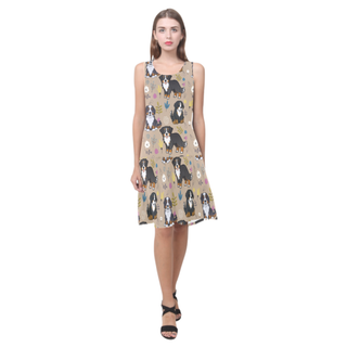 Bernese Mountain Flower Sleeveless Splicing Shift Dress - TeeAmazing