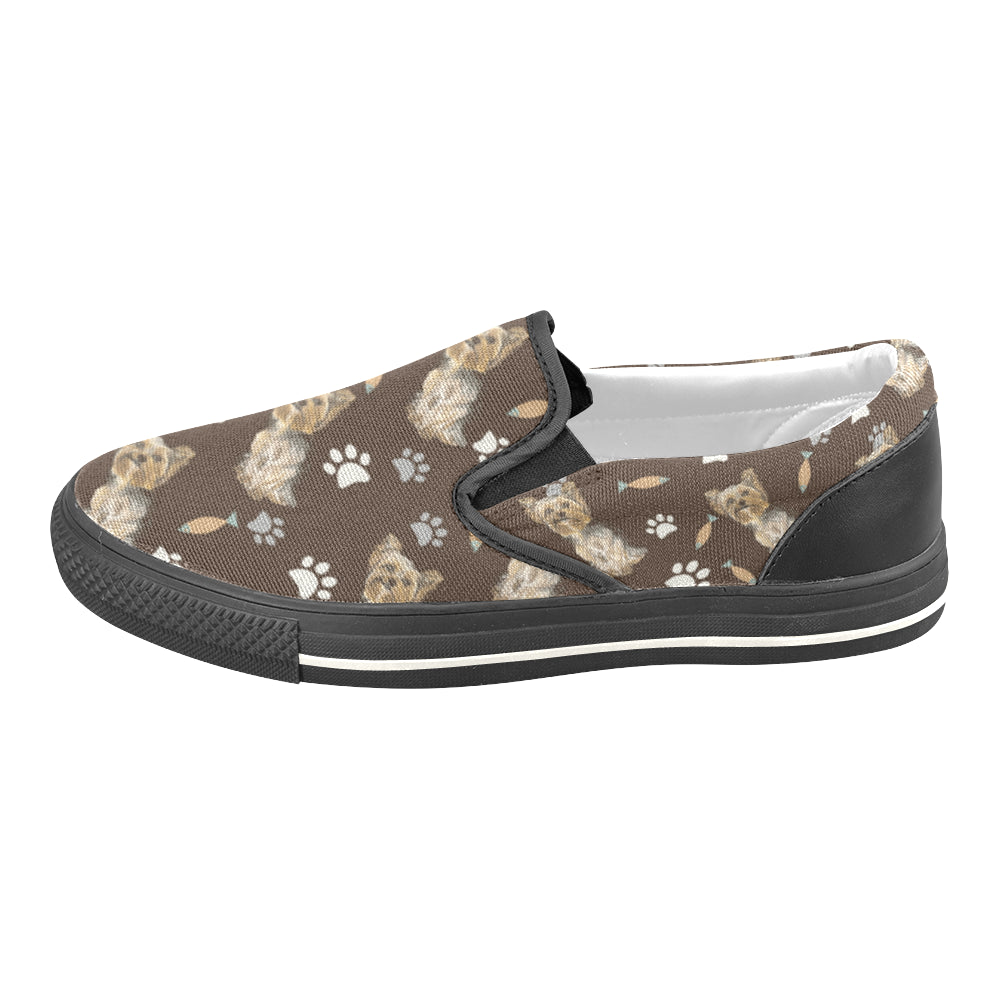 Yorkshire Terrier Water Colour Pattern No.1 Black Women's Slip-on Canvas Shoes/Large Size (Model 019) - TeeAmazing