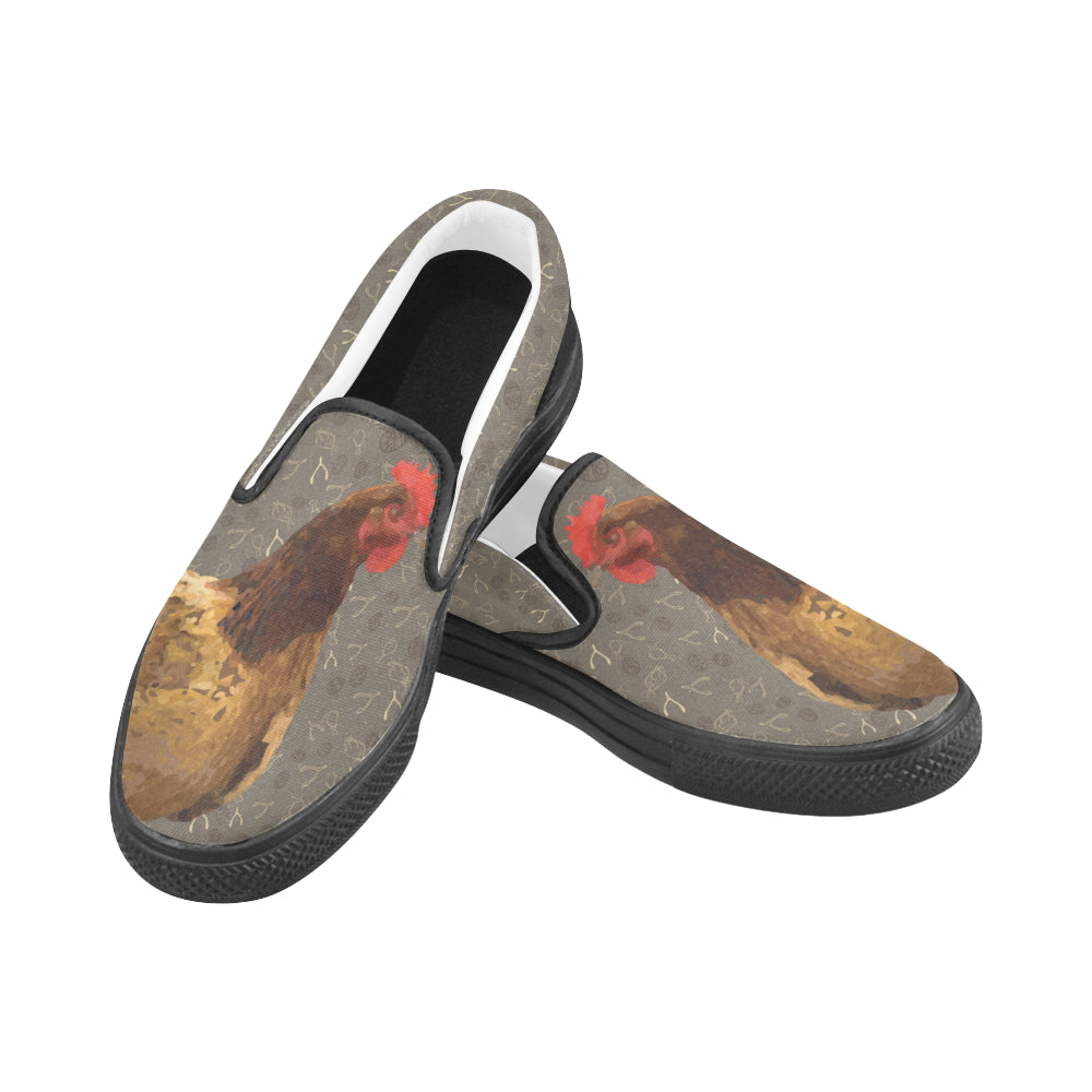 Chicken Footprint Women's Slip-on Canvas Shoes - TeeAmazing