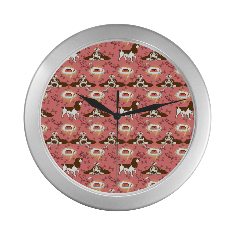 English Cocker Spaniel Pattern Silver Color Wall Clock - TeeAmazing