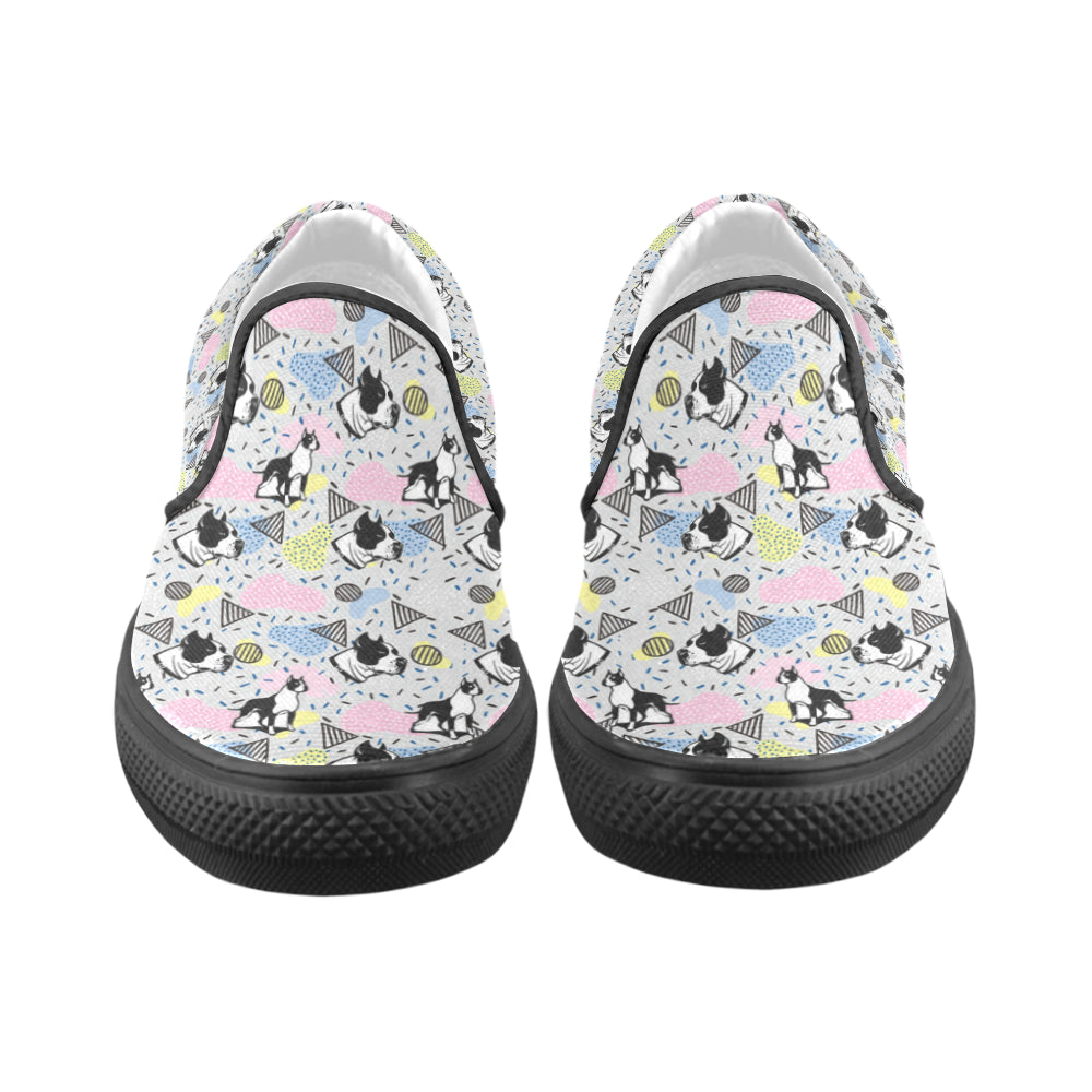 American Staffordshire Terrier Pattern Black Women's Slip-on Canvas Shoes (Model 019) - TeeAmazing