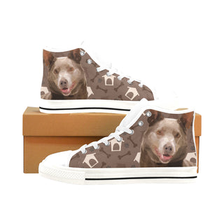 Australian Kelpie Dog White Men's Classic High Top Canvas Shoes /Large Size (Model 017) - TeeAmazing