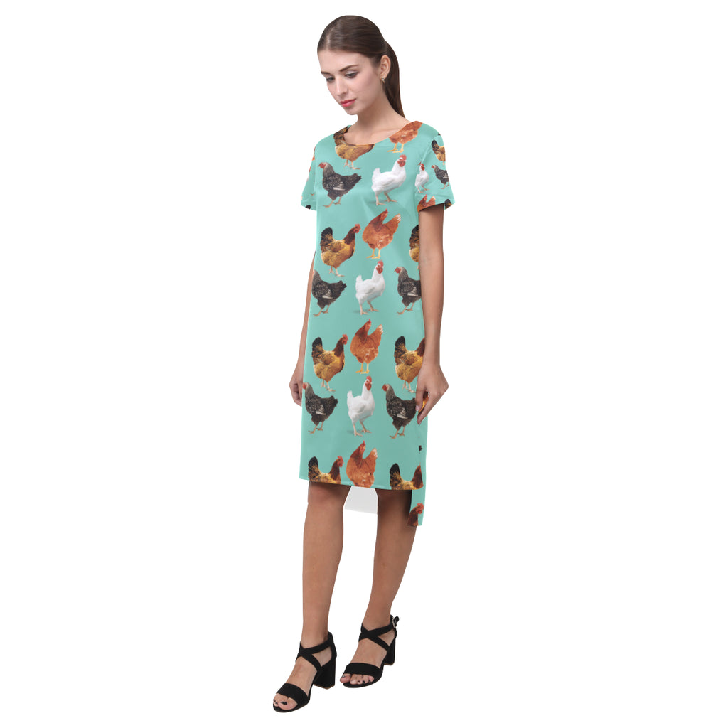 Chicken Pattern Short Sleeves Casual Dress - TeeAmazing