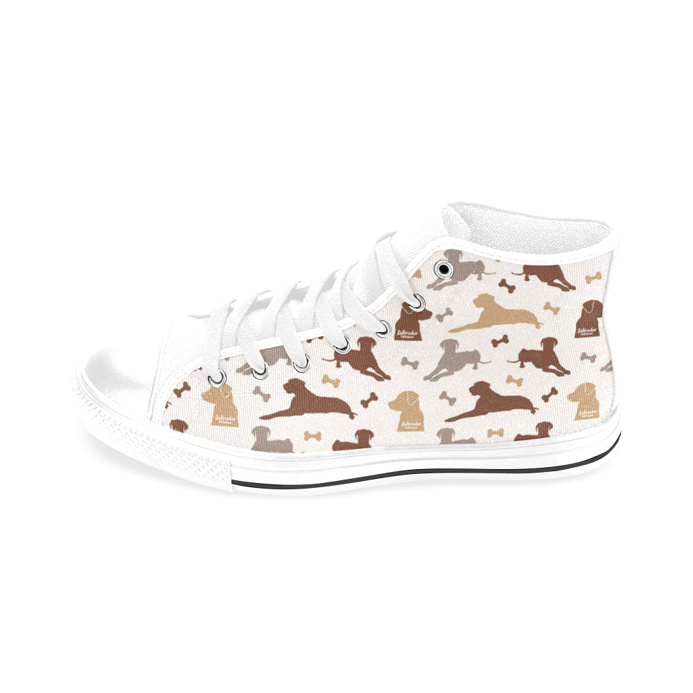 Labrador Retriever Pattern White Men's Classic High Top Canvas Shoes /Large Size - TeeAmazing