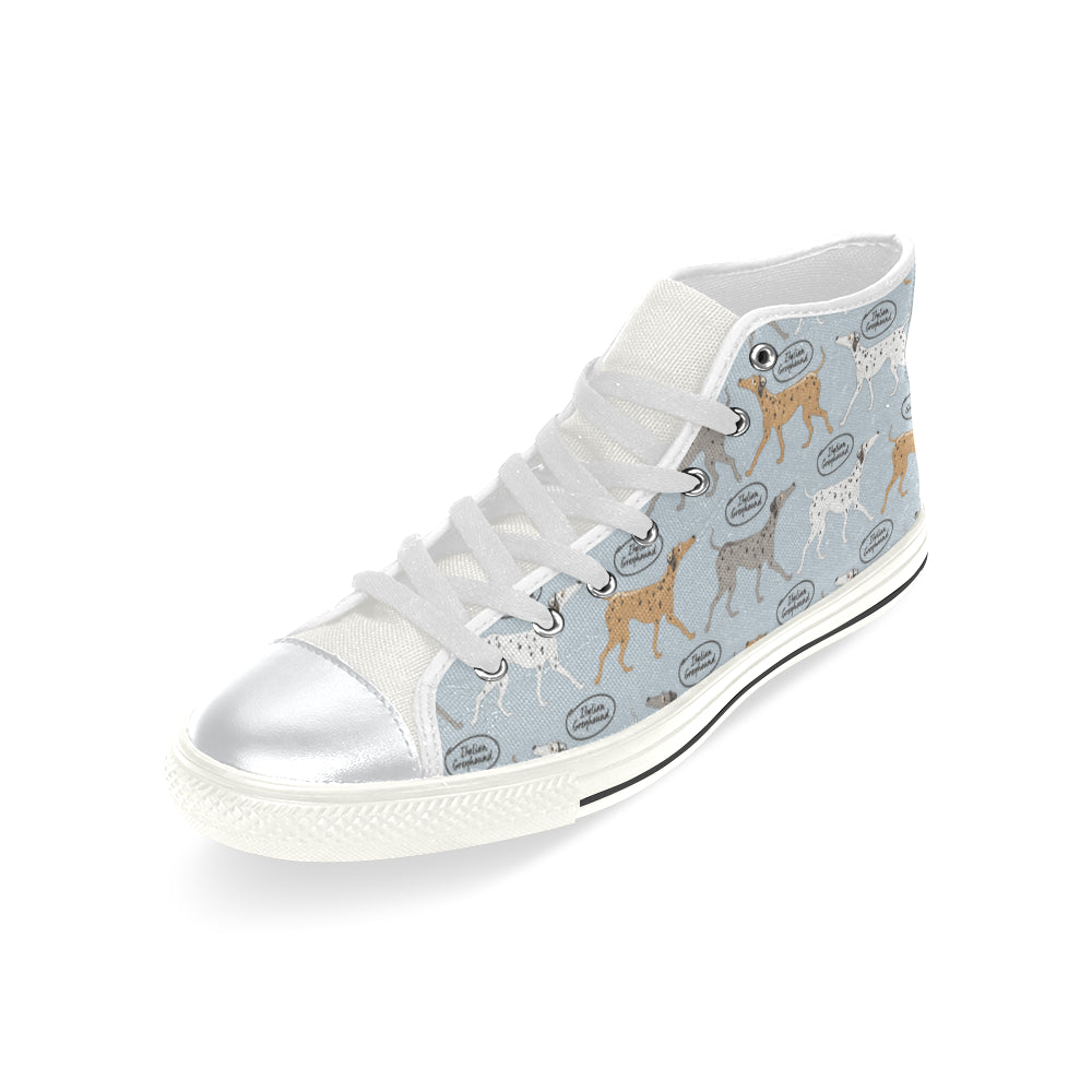 Italian Greyhound Pattern White High Top Canvas Shoes for Kid - TeeAmazing