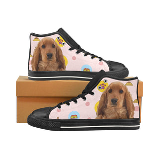 English Cocker Spaniel Black Men's Classic High Top Canvas Shoes /Large Size - TeeAmazing