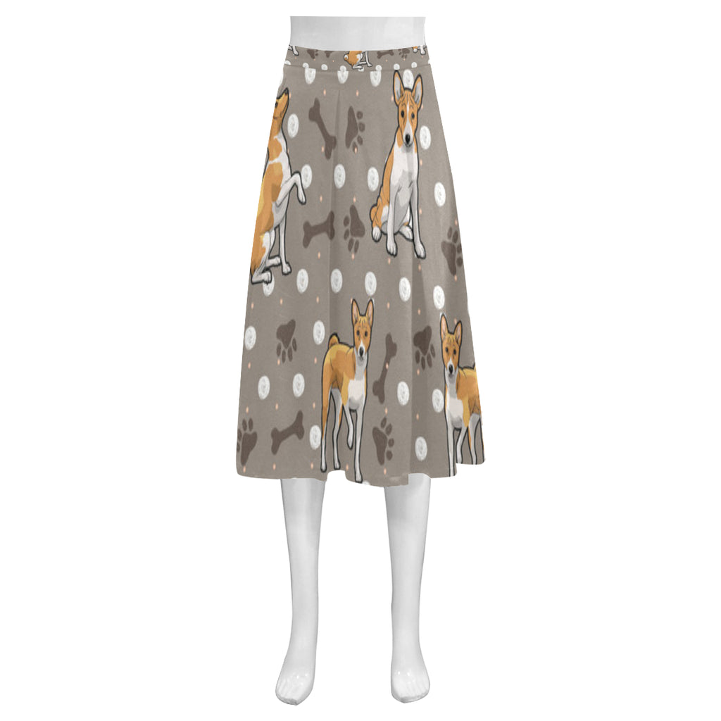 Basenji Mnemosyne Women's Crepe Skirt (Model D16) - TeeAmazing