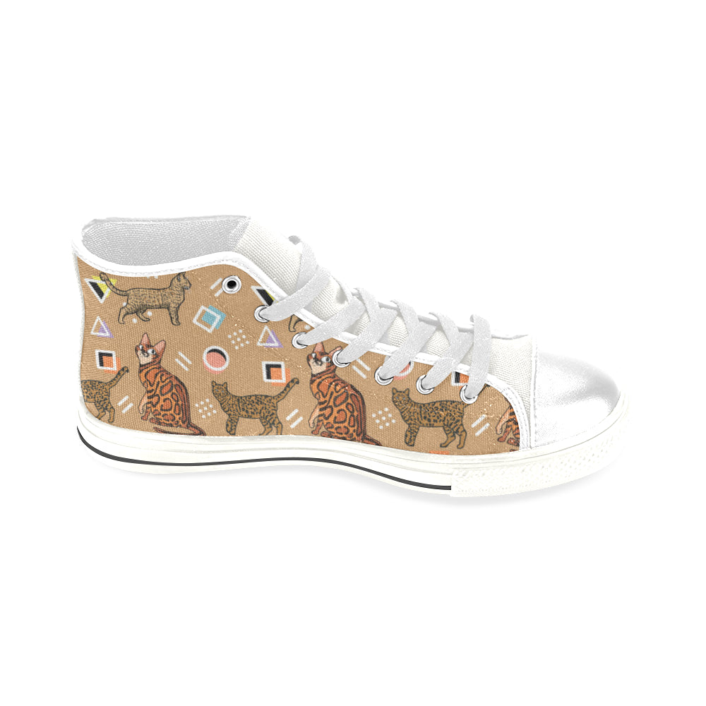 Bengal Cat White Men's Classic High Top Canvas Shoes - TeeAmazing