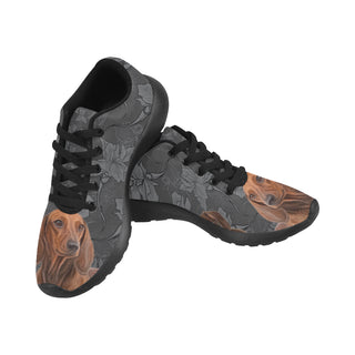 Dachshund Lover Black Sneakers for Women - TeeAmazing