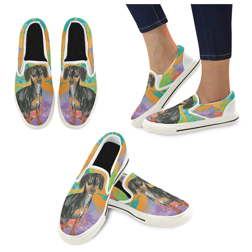 Dachshund Water Colour No.2 White Women's Slip-on Canvas Shoes/Large Size (Model 019) - TeeAmazing