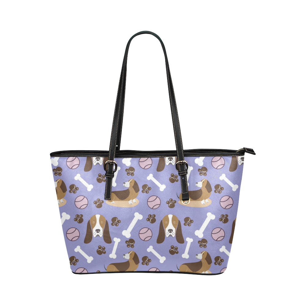 Basset Hound Pattern Leather Tote Bag/Small - TeeAmazing