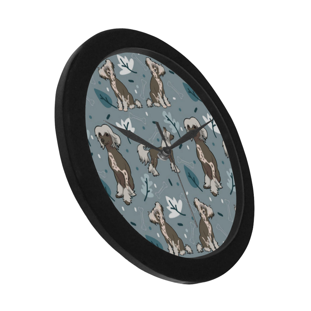 Chinese Crested Black Circular Plastic Wall clock - TeeAmazing