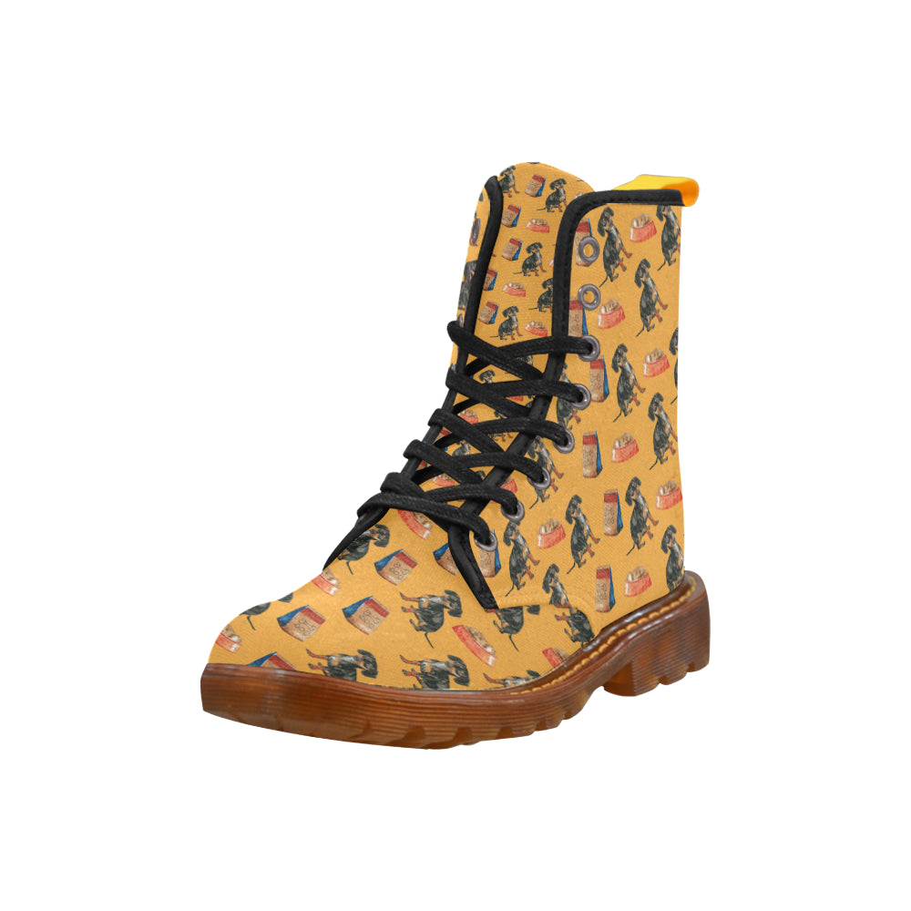 Dachshund Water Colour Pattern No.1 Black Boots For Women - TeeAmazing