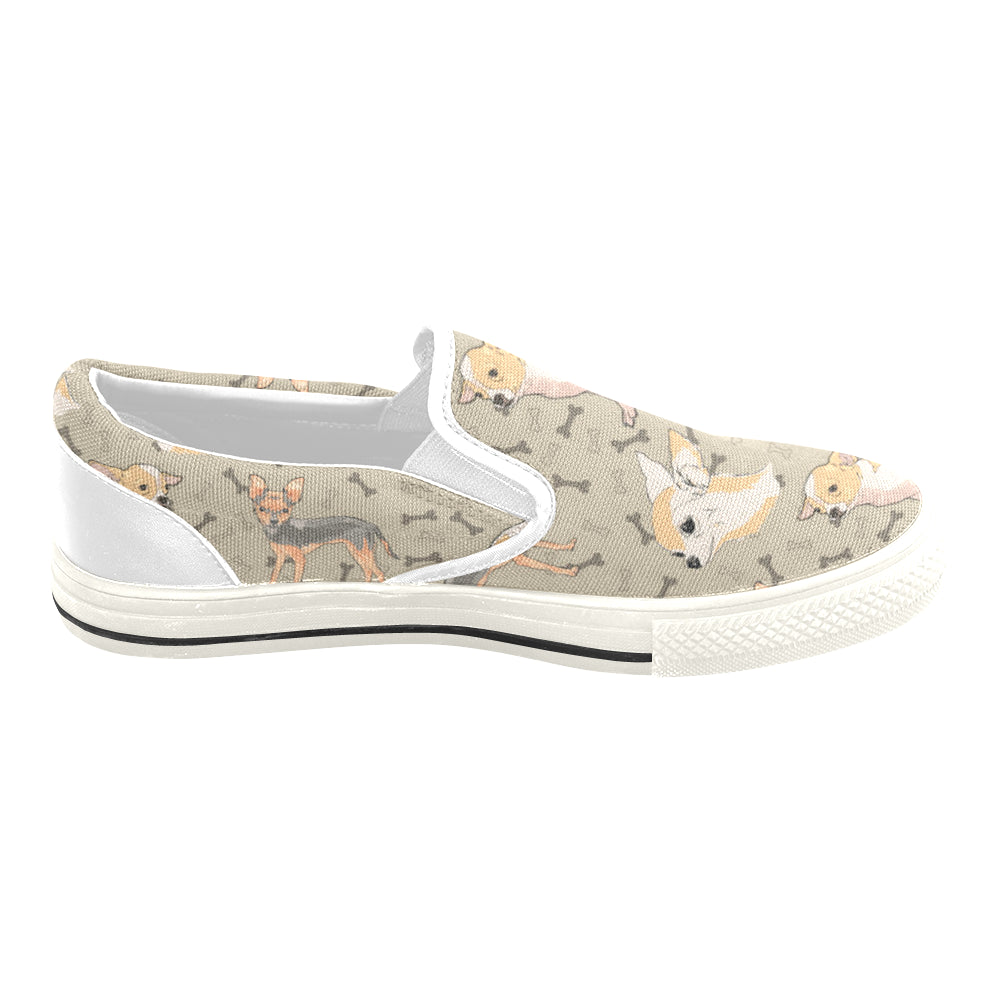 Chihuahua White Women's Slip-on Canvas Shoes/Large Size (Model 019) - TeeAmazing