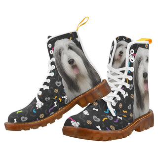 Bearded Collie Dog White Martin Boots For Women - TeeAmazing