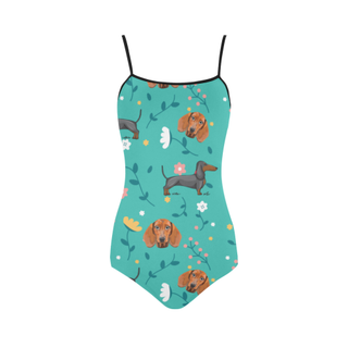 Dachshund Flower Strap Swimsuit ( Model S05) - TeeAmazing
