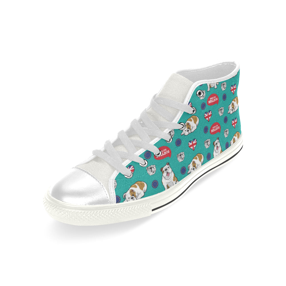 English Bulldog White Men's Classic High Top Canvas Shoes - TeeAmazing